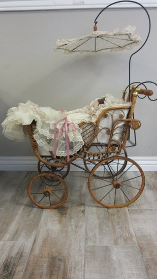 Decorative Victorian Baby Buggy w/ Porcelain Doll