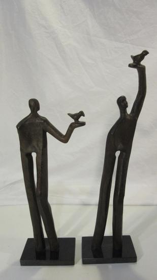 Set of 2 Metal w/ Marble Base Figures