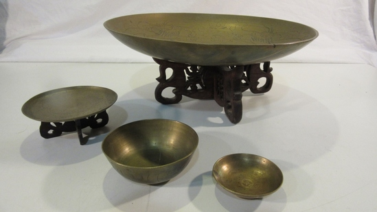 Lot of Vintage Brass Bowls, Incl. 2 w/ Wood Stands