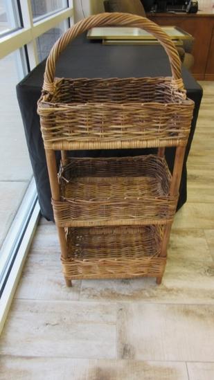 3 Shelf Wicker Basket
