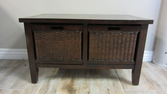 Pier 1 Imports Small Table w/ 2 Basket Drawers