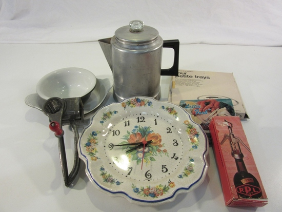 Lot of Vintage Kitchen Items, Incl. Coffee Pot