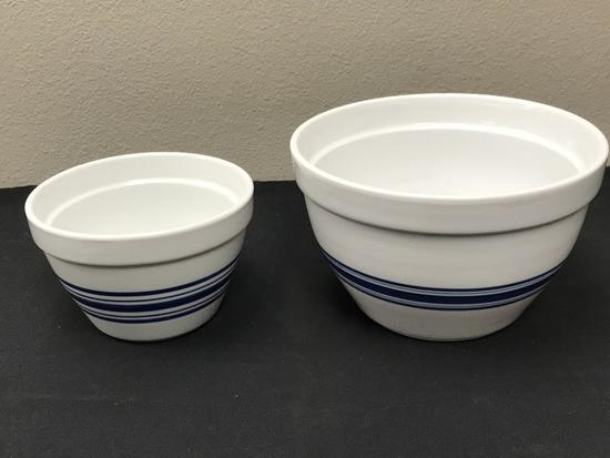 Lot of 2 Crate and Barrel Large Serving Bowls