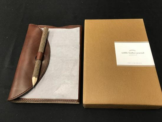 Pottery Barn Saddle Leather Journal NEW X$