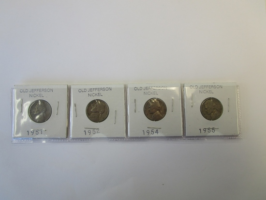 Lot of 4 Jefferson Nickels 1951,52,54,& 55
