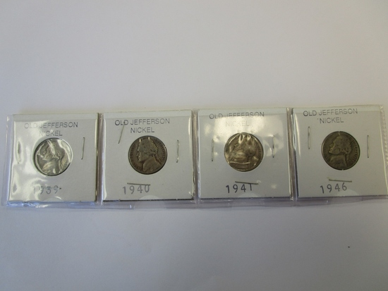 Lot of 4 Jefferson Nickels 1939,40,41,& 46