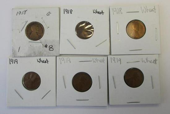 Lot of 6 Wheat Cent 1918 and 1919