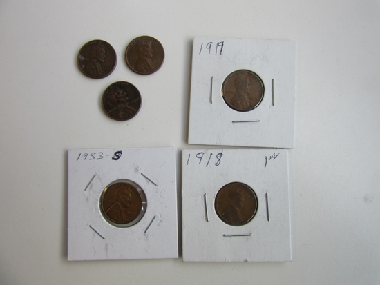 Lot of 6 Wheat Pennies 1947D, 1944D, 1958, 1953S