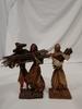 3 vintage paper mache figures bringing wood