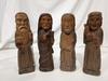 Set of 4 vintage folk art hand-carved wooden monks