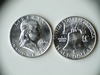 Two 1960-D .90 Silver Franklin Half Dollars