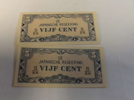 Lot of 2 Japanese Currency 5 Cent Notes