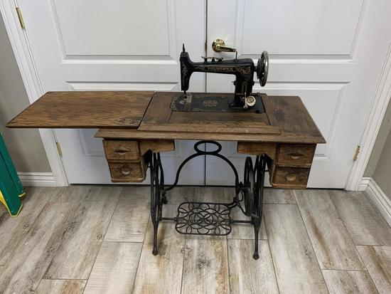 Antique Brunswick Sewing Machine with Cabinet