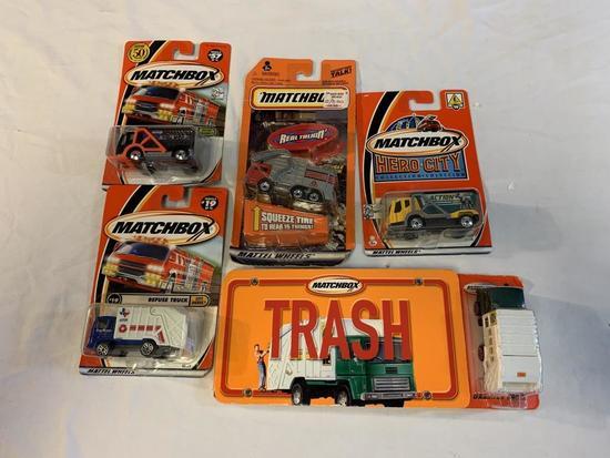 Lot of 5 Matchbox Die Cast Garbage Trucks NEW