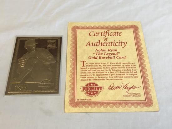 "NOLAN RYAN ""The Legend"" Gold Baseball Card 1994"