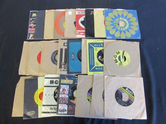 Lot of 25 Small Vinyl Music Records