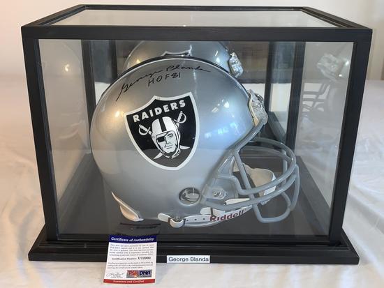 GEORGE BLANDA Raiders AUTOGRAPH FS Helmet PSA