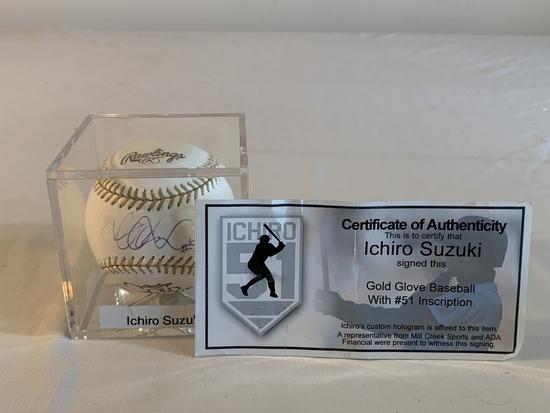 ICHIRO SUZUKI AUTOGRAPH Gold Glove Baseball COA
