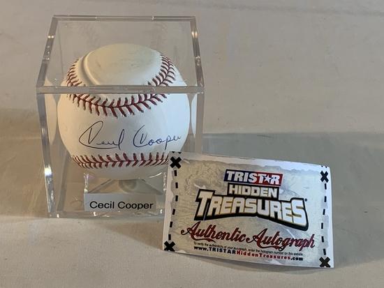 CECIL COOPER Brewers SIGNED Baseball Tristar COA