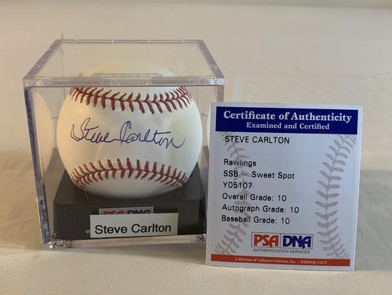 STEVE CARLTON Graded 10 AUTOGRAPH Baseball PSA COA