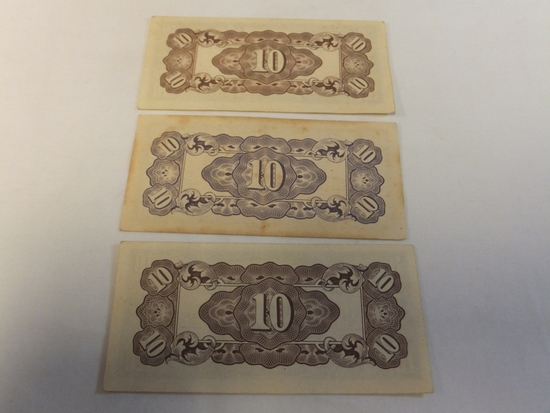 Lot of 3 Japanese Currency 10 Cent Notes