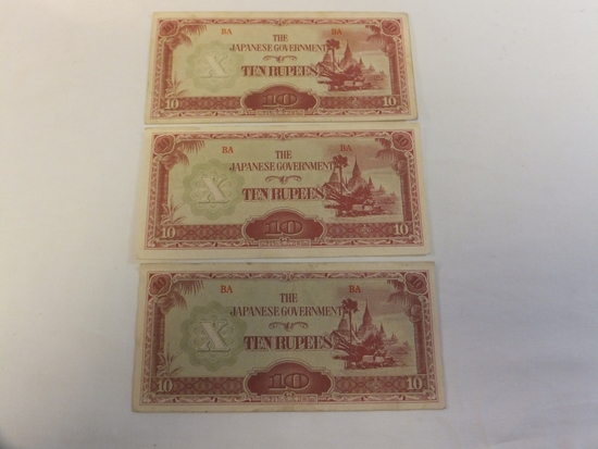 Lot of 3 Japanese Ten Rupees Currency Notes