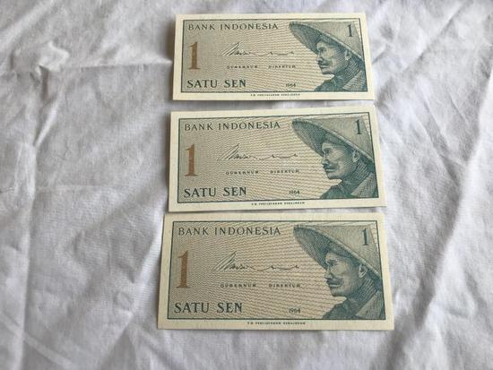 Lot of 3 1964 Bank Indonesia One (1) Satu Sen Note