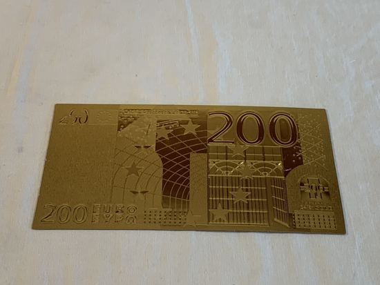 200 European Two Hundred Banknote Gold 24K Replica