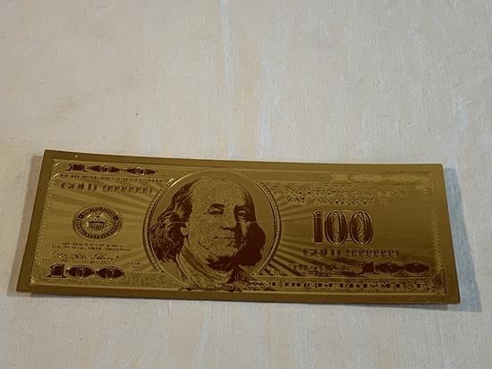$100 Gold .999 24K Dollar Bill Replica
