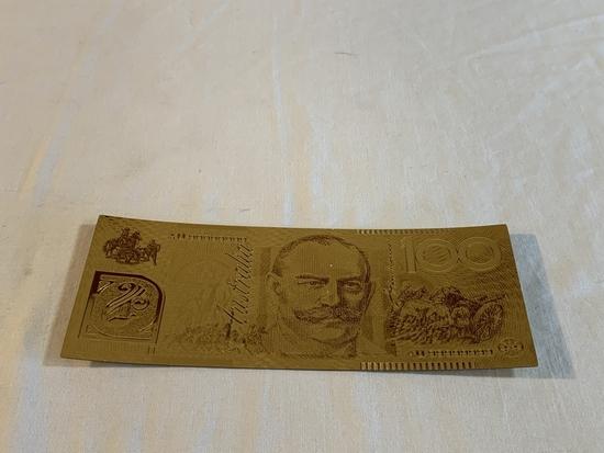 $100 Australia Gold .999 24K Dollar Bill Replica
