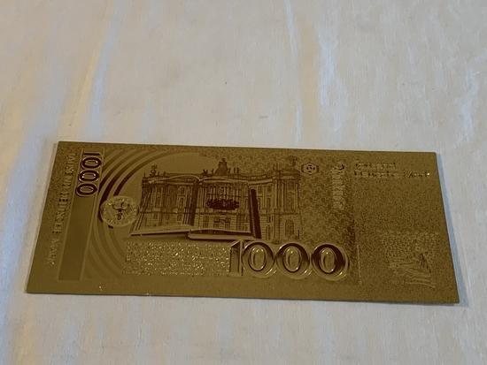 $1000  Deutsche Mark Gold .999 24K Bill Replica