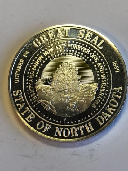 Great Seal of North Dakota 1oz .925 Silver Round