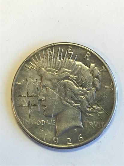 Scared 1926-S Peace Silver Dollar 90% Silver