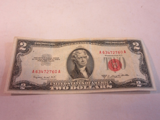 1953-B U.S. Red $2 Currency Note