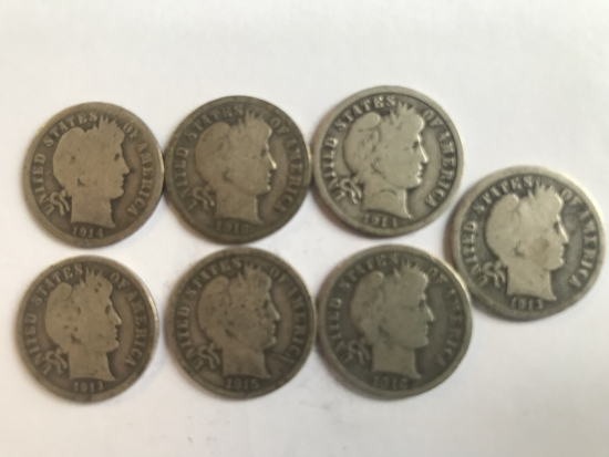 Lot of 7 .90 Silver Barber Dimes