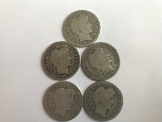 Lot of 5 .90 Silver Barber Dimes