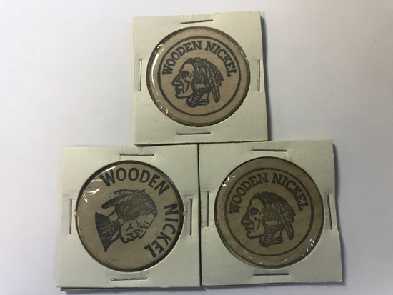 "Lot of 3 Wooden Nickel Advertisement ""Coins"""