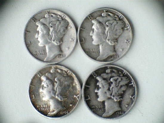 Lot of 4 1944-P/S .90 Silver Mercury Dimes