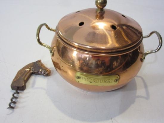Vintage Copper Pot w/ Lid & Copper Horse Head Wine