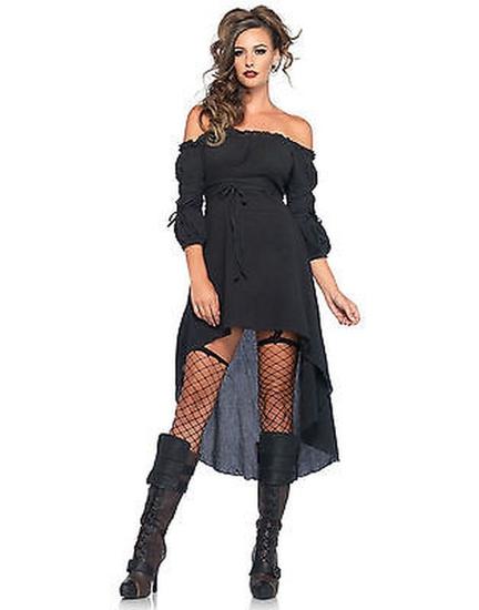 BLACK GAUZE PEASANT DRESS Adult Costume NEW