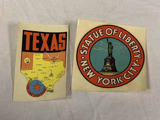 Vintage Statue Of Liberty & Texas State Stickers