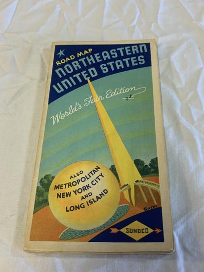 1939 Sunoco Northeastern US Worlds Fair Road Map