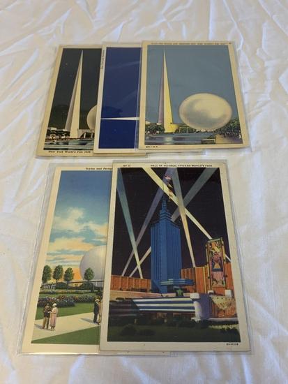 5 original 1939 New York World's Fair Postcards