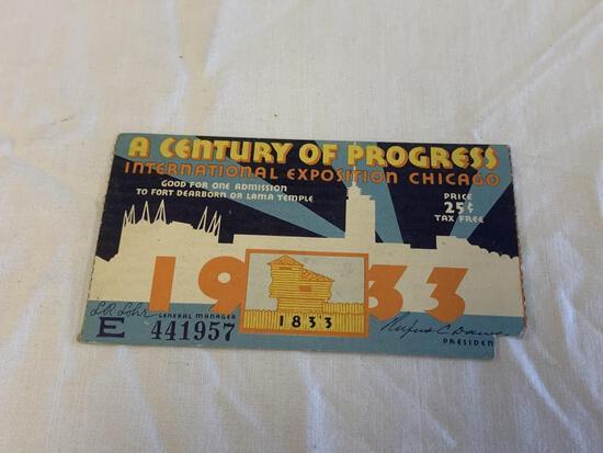 Original 1933 World's Fair Chicago Ticket Stub