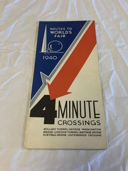 1940 4 Minute Crossings Map World's Fair NEW YORK