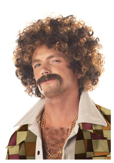 DISCO DIRT BAG Wig & Mustache Costume NEW
