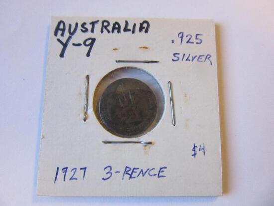 1927 .925 Silver Australian 3-Pence Coin