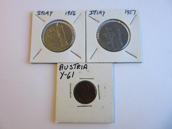 1956/1957 Italian 100 Lire Coins & Austrian Coin
