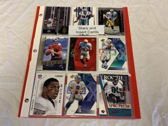 Lot of 18 STARS & INSERTS, RC Football Cards