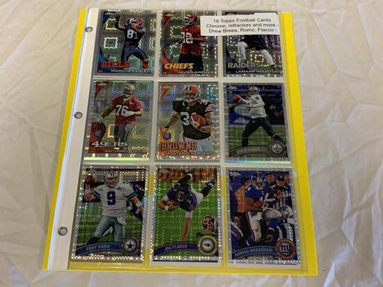 Lot of 18 STARS & REFRACTORS Football Cards